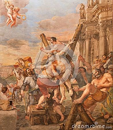 Free Rome - The Crucifixion Of St. Andrew The Apostle In Church Basilica Di Sant Andrea Della Valle By Mattia Preti Royalty Free Stock Photography - 53006447
