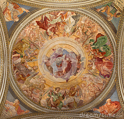 Free Rome -The Father Adored The Heavenly Host Fresco  On The Ceiling In Side Chapel Of St Francis In Basilica Di Santa Maria In Tras Royalty Free Stock Photo - 53602415