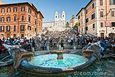 ROME -Tourists at The Spanish Steps Editorial Photography