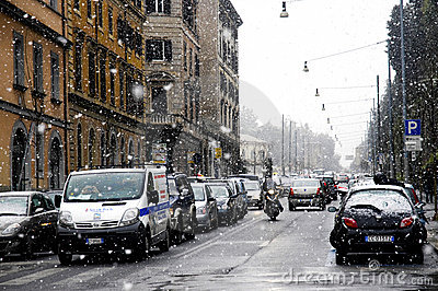 Rome under heavy snow Editorial Stock Photo