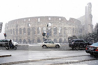 Rome under heavy snow Editorial Image