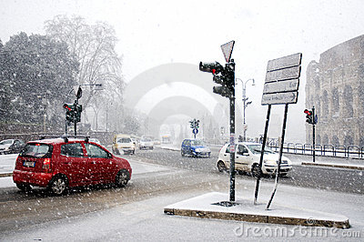 Rome under heavy snow Editorial Photo