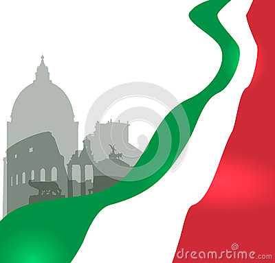 Free Rome Vector Illustration With Italian Flag Royalty Free Stock Image - 32123196
