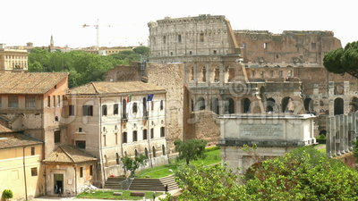 Rome. View from the Palatine Hill to the Roman Forum and the Colosseum in Rome stock video footage