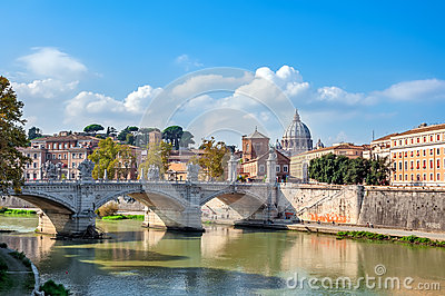 Rome, View of the Tiber and St. Peter s Basilica with the Bridge