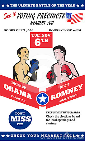 Romney Vs Obama American Elections 2012 Boxing Editorial Stock Photo