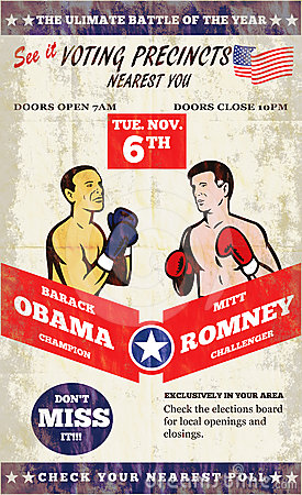 Romney Vs Obama American Elections 2012 Boxing Editorial Stock Image