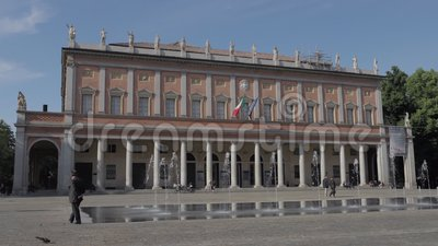 Romolo Valli Municipal Theater Reggio Emilia-Time Lapse stock footage
