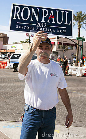 Ron Paul Supporter at GOP Presidential Debate 2012 Editorial Photography
