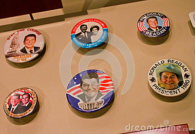 Ronald Reagan political pins Editorial Image