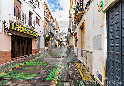 RONDA, SPAIN-DECEMBER 15, 2013: Ronda street on Christmas Eve. P Editorial Photography