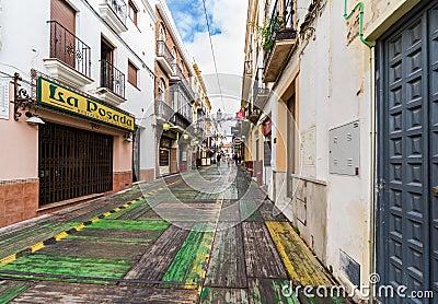 RONDA, SPAIN-DECEMBER 15, 2013: Ronda street on Christmas Eve. P Editorial Photography