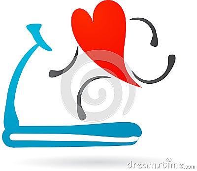 Rood hart op een tredmolen