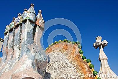 Roof of Casa Batlló Editorial Stock Photo