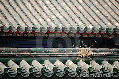 Roof covered with glazed tiles