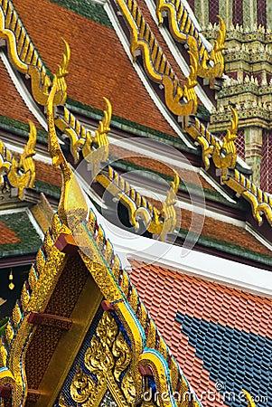 Roof details at Wat Phra Kaeo in Bangkok
