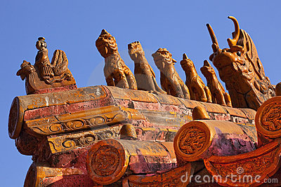 Roof Figurines Forbidden City Beijing
