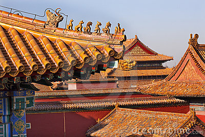 Roof Figurines Yellow Roofs Forbidden City Beijing