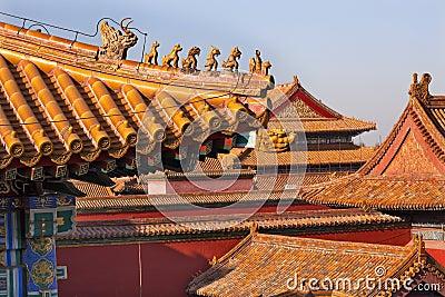 Roof Figurines Yellow Roofs Forbidden City Beijing