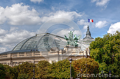 Roof and flag of the Grand Palais in Paris, France