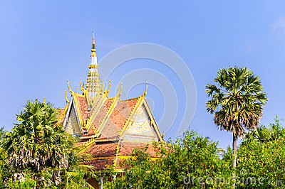 Roof of Khmer Temple in An Giang, Vietnam