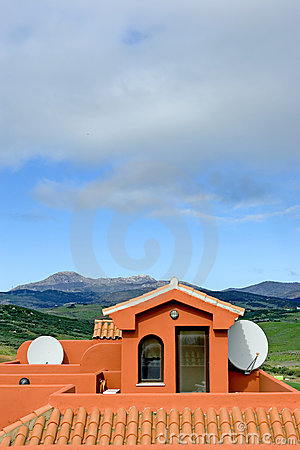 Free Roof Of Spanish Apartment With Tv Satellite Dish Stock Image - 671541