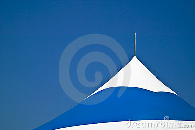 Roof portion of a portable tent awning