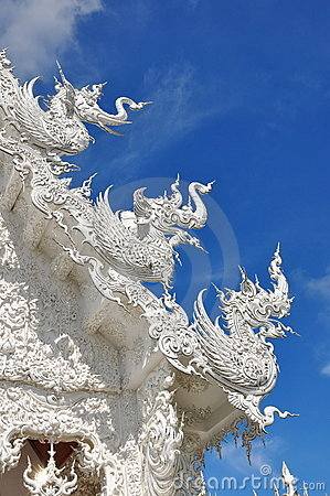 Roof sculptures of Wat Rong Khun temple