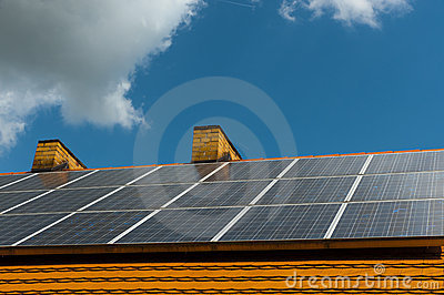 Roof with solar cells Stock Photo