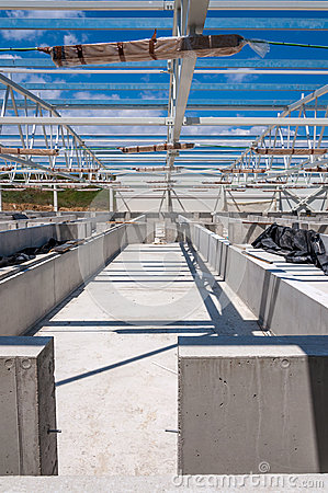 Roof steel structure on concrete construction site