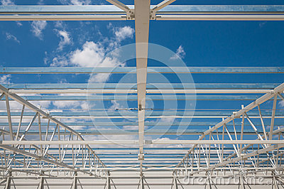 Roof steel structure construction site