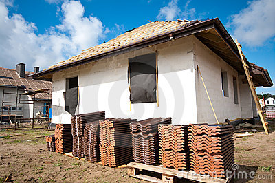 Roof tiles piled