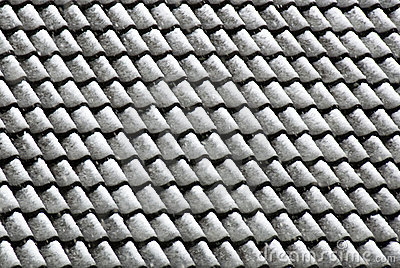 Roof tiles after snowfall