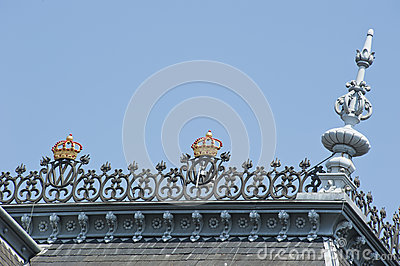 Roof top with ornaments and gold crowns