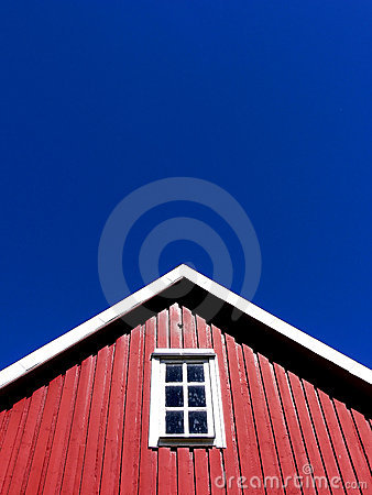 Roof Top of Red Wooden House