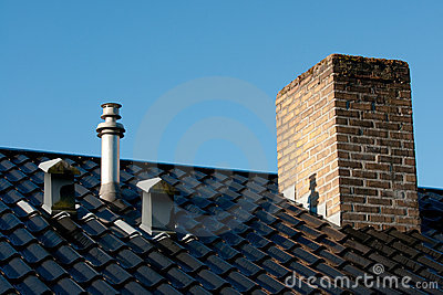 Roof with ventilation, flue terminal and chimney