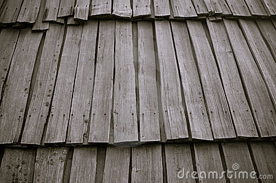 Roof from wooden laths