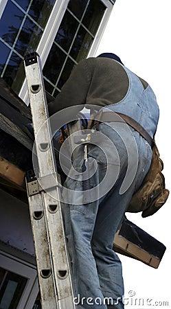Roofer on the ladder