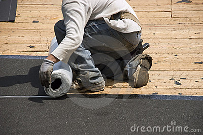 Roofer on Roof, Ice Shield Tar Paper Shingles
