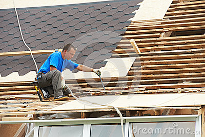 Roofing work with flex roof stock images image 27322074 for Flexible roofing material