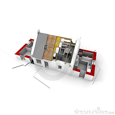 Free Roofless House On Architect Blueprints Red Stock Images - 4156134