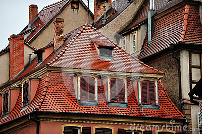 Roofs of historic houses, Colmar, France