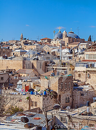 Free Roofs Of Old City With Holy Sepulcher Church Dome, Jerusalem Royalty Free Stock Photos - 77969938
