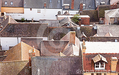 Roofs of old houses in Ludlow Shropshire