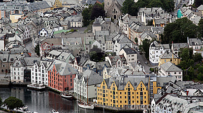 Roofs of old houses in norway city Alesund