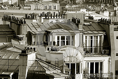 Roofs in Paris, France