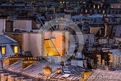Roofs of Paris at night