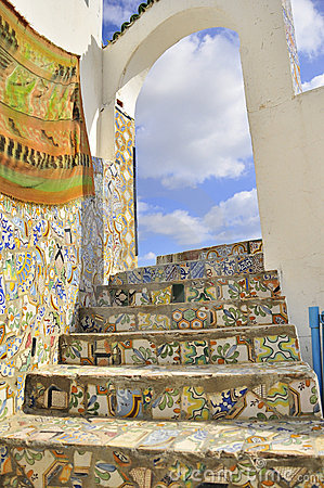 rooftop arcades and stairs covered with mosaic