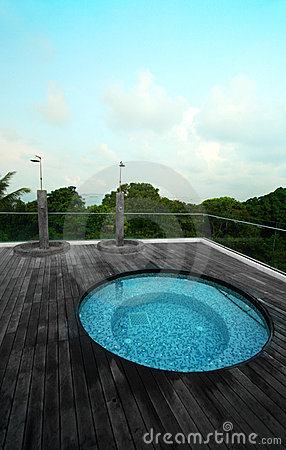 Rooftop jacuzzi pool, tropical resort hotel