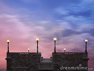 Rooftop Lights Under Twilight Skies